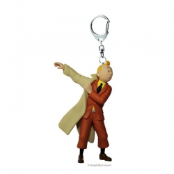 Tintin in trenchcoat keychain